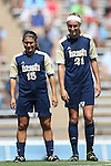 15 September 2013: Notre Dame's Karin Simonian (15) and Brittany Von Rueden (21). The University of North Carolina Tar Heels hosted the University of Notre Dame Fighting Irish at Fetzer Field in Chapel Hill, NC in a 2013 NCAA Division I Women's Soccer match. Notre Dame won the game 1-0.