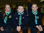 Stamullen Beaver Scouts Kate McDonnell, Ruraí Costigan and Caireann Bracken at their Investiture in the village. Photo:Colin Bell/pressphotos.ie