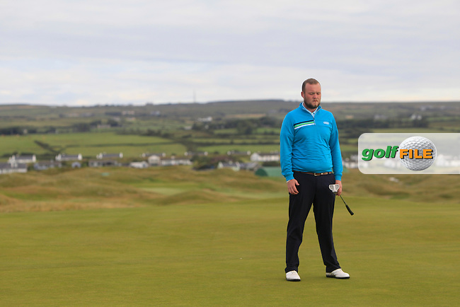 Cian Geraghty (Laytown &amp; Bettystown) on the 1st green during Matchplay Round 1 of the South of Ireland Amateur Open Championship at LaHinch Golf Club on Friday 24th July 2015.<br /> Picture:  Golffile | Thos Caffrey