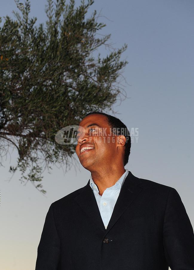 Sept. 24, 2009; Casa Grande, AZ, USA; UFL commissioner Michael Huyghue during a press conference at the Casa Grande Training Facility & Performance Institute. Mandatory Credit: Mark J. Rebilas-