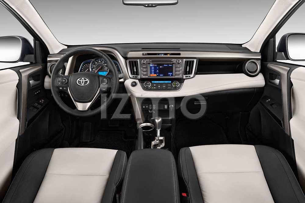 Stock photo of straight dashboard view of a 2013 Toyota rav4 limited Select Doors Door SUV