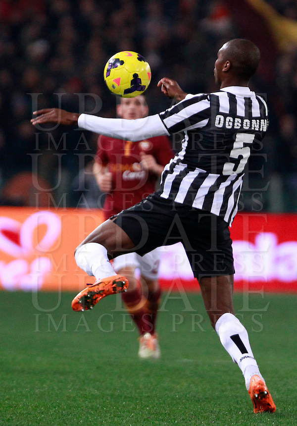 Calcio, quarti di finale di Coppa Italia: Roma vs Juventus. Roma, stadio Olimpico, 21 gennaio 2014.<br /> Juventus defender Angelo Ogbonna controls the ball during the Italian Cup round of eight final football match between AS Roma and Juventus, at Rome's Olympic stadium, 21 January 2014.<br /> UPDATE IMAGES PRESS/Isabella Bonotto