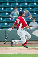 Mookie Betts (16) of the Salem Red Sox follows through on his swing against the Winston-Salem Dash at BB&T Ballpark on August 15, 2013 in Winston-Salem, North Carolina.  The Red Sox defeated the Dash 2-1.  (Brian Westerholt/Four Seam Images)
