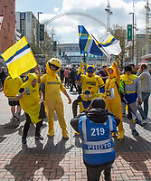 Oxford supporters arrive in fancy dress ahead of the The Checkatrade Trophy / EFL Trophy FINAL match between Oxford United and Coventry City at Wembley Stadium, London, England on 2 April 2017. Photo by Andy Rowland.