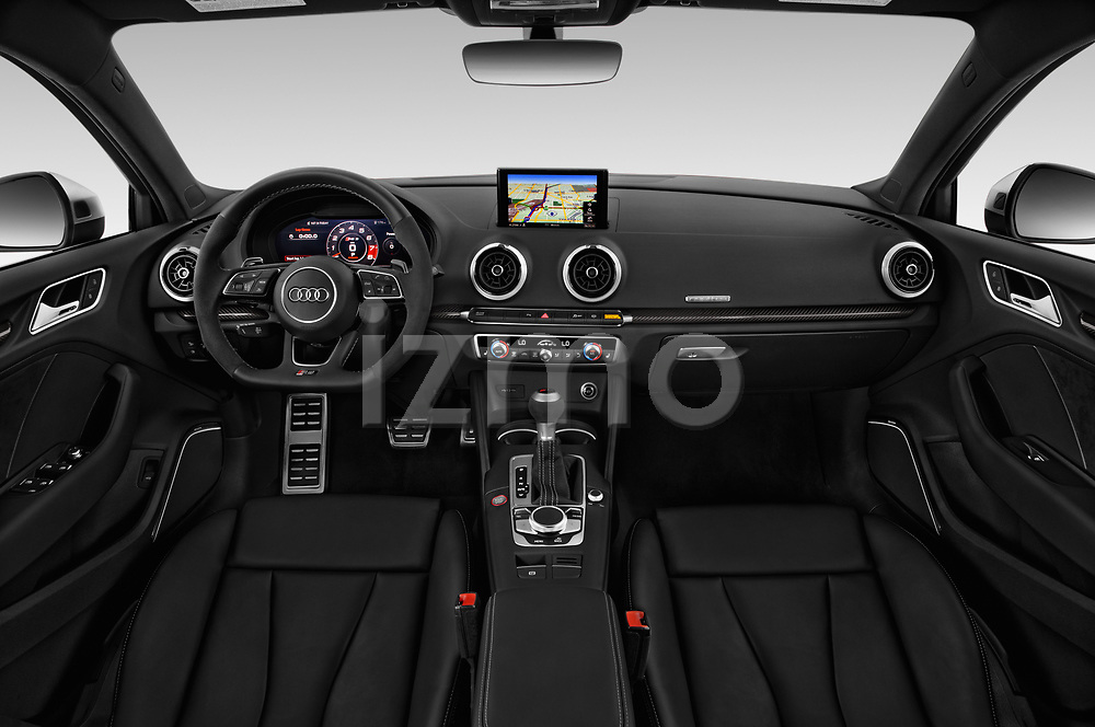 Stock photo of straight dashboard view of 2019 Audi RS-3 4WD 4 Door Sedan Dashboard