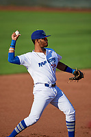 Cristian Santana (27) of the Ogden Raptors during the game against the Orem Owlz in Pioneer League action at Lindquist Field on June 21, 2017 in Ogden, Utah. The Owlz defeated the Raptors 16-5. This was Opening Night at home for the Raptors.  (Stephen Smith/Four Seam Images)