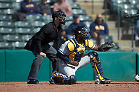 West Virginia Mountaineers catcher Paul McIntosh (34) sets a target as home plate umpire Anthony Perez looks on during the game against the Illinois Fighting Illini at TicketReturn.com Field at Pelicans Ballpark on February 23, 2020 in Myrtle Beach, South Carolina. The Fighting Illini defeated the Mountaineers 2-1.  (Brian Westerholt/Four Seam Images)