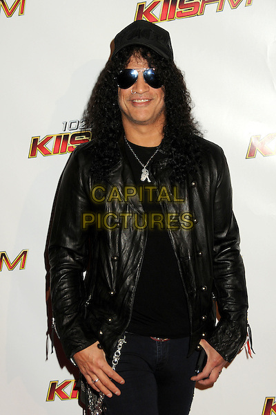 SLASH (Saul Hudson).102.7 KIIS FM's Jingle Ball 2010 held at Nokia Theatre L.A. Live, Los Angeles, California, USA, .5th December 2010..half length jacket black leather sunglasses .CAP/ADM/BP.©Byron Purvis/AdMedia/Capital Pictures.