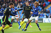 29th February 2020; Cardiff City Stadium, Cardiff, Glamorgan, Wales; English Championship Football, Cardiff City versus Brentford; Henrik Dalsgaard of Brentford ties up with Dion Sanderson of Cardiff City to assist in Brentford's first goal making it 0-1 in the 6th minute