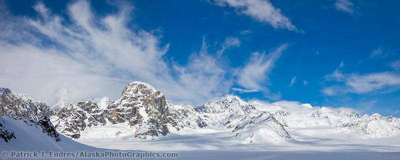 Clouds swirl over the ruth glacier, mount danbeard and Alaska Range mountains, Denali National Park, Alaska.