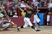 Designated hitter Nick Cieri (31) of the Maryland Terrapins in an NCAA Division I Baseball Regional Tournament game against the South Carolina Gamecocks on Sunday, June 1, 2014, at Carolina Stadium in Columbia, South Carolina. The USC catcher is Grayson Greiner. Maryland won, 10-1, to win the tournament. (Tom Priddy/Four Seam Images)