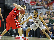 Washington, DC - March 10, 2018: St. Bonaventure Bonnies forward LaDarien Griffin (15) defends Davidson Wildcats forward Peyton Aldridge (23) during the Atlantic 10 semi final game between St. Bonaventure and Davidson at  Capital One Arena in Washington, DC.   (Photo by Elliott Brown/Media Images International)