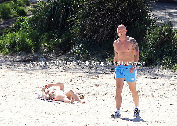 19 SEPTEMBER 2013 SYDNEY AUSTRALIA<br /> <br /> EXCLUSIVE PICTURES<br /> <br /> Lisa McCune pictured with her lover Teddy Tahu-Rhodes enjoying a swim at Clovelly Beach. <br /> <br /> *No internet without clearance*<br /> MUST CALL PRIOR TO USE .<br /> +61 2 9211-1088<br /> Matrix Media Group<br /> Note: All editorial images subject to the following: For editorial use only. Additional clearance required for commercial, wireless, internet or promotional use.Images may not be altered or modified. Matrix Media Group makes no representations or warranties regarding names, trademarks or logos appearing in the images.