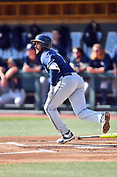 Pittsburgh Panthers third baseman Liam Sabino (11) runs to first base during a game against the North Carolina Tar Heels at Boshamer Stadium on March 17, 2018 in Chapel Hill, North Carolina. The Tar Heels defeated the Panthers 4-0. (Tony Farlow/Four Seam Images)