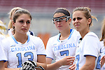 01 May 2016: North Carolina's Sammy Jo Tracy (13), Ela Hazar (7), and Aly Messinger (right). The University of North Carolina Tar Heels played the Syracuse University Orange at Lane Stadium in Blacksburg, Virginia in the 2016 Atlantic Coast Conference Women's Lacrosse Tournament championship match. North Carolina won 15-14 in overtime.