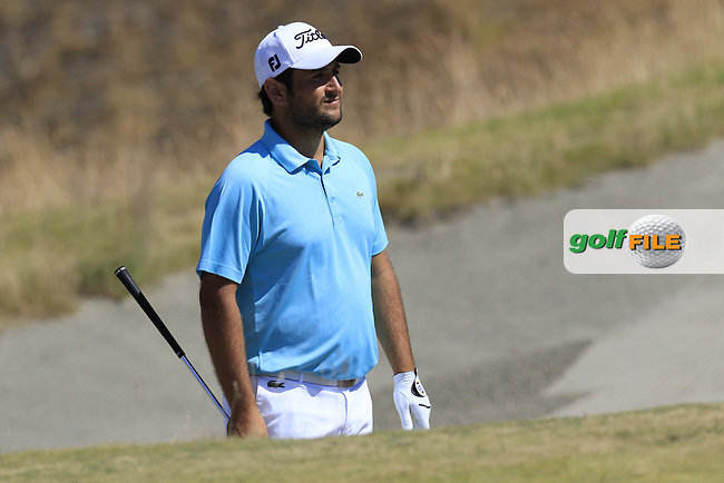 Alexander Levy (FRA) in a bunker at the 9th green during Saturday's Round 3 of the 2015 U.S. Open 115th National Championship held at Chambers Bay, Seattle, Washington, USA. 6/20/2015.<br /> Picture: Golffile | Eoin Clarke<br /> <br /> <br /> <br /> <br /> All photo usage must carry mandatory copyright credit (&copy; Golffile | Eoin Clarke)
