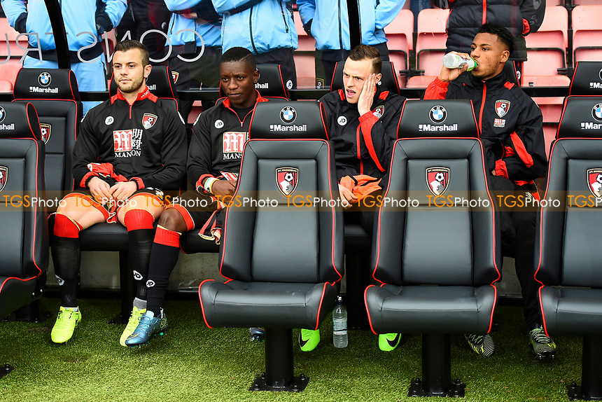 The AFC Bournemouth bench with l/r Jack Wilshere , Max Gradel , Brad Smith and Lys Mousset during AFC Bournemouth vs West Ham United, Premier League Football at the Vitality Stadium on 11th March 2017