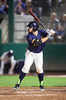 Vineros de Tri-City Logan Driscoll (19) at bat during a Northwest League game against the Vancouver Canadians at Gesa Stadium on August 22, 2019 in Pasco, Washington. Tri-City defeated Vancouver 2-0. (Zachary Lucy/Four Seam Images)