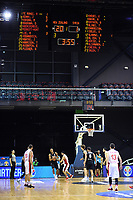 The scoreboard shows NZ leading 20-1 during the first quarter of the FIBA World Cup Asia qualifier between the New Zealand Tall Blacks and Syria at TSB Bank Arena in Wellington, New Zealand on Sunday, 2 December 2018. Photo: Dave Lintott / lintottphoto.co.nz