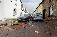 Pictured: Bridge Street.<br /> Re: Cleanup after storm Dennis in Crickhowell, Wales, UK.