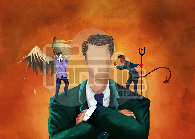 Illustrative image of businessman getting advice from an angel and a devil
