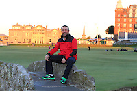 Damien McGrane (IRL) on the Swilcan Bridge on the 18th fairway at St. Andrews after Round 1 of the 2015 Alfred Dunhill Links Championship at the Old Course St. Andrews in Scotland on 1/10/15.<br /> Picture: Thos Caffrey | Golffile