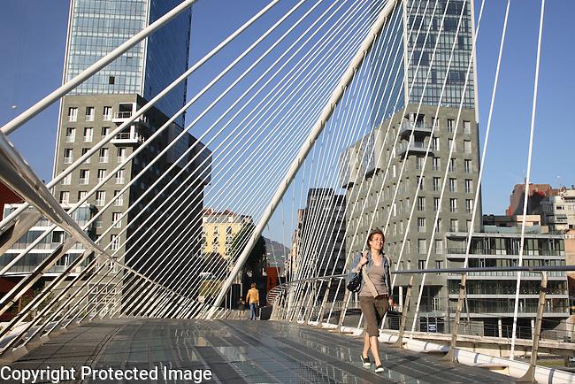 Puente Zubizuri Bridge designed by Calatrava, Bilbao, Pais Vasco, Basque Country, Spain