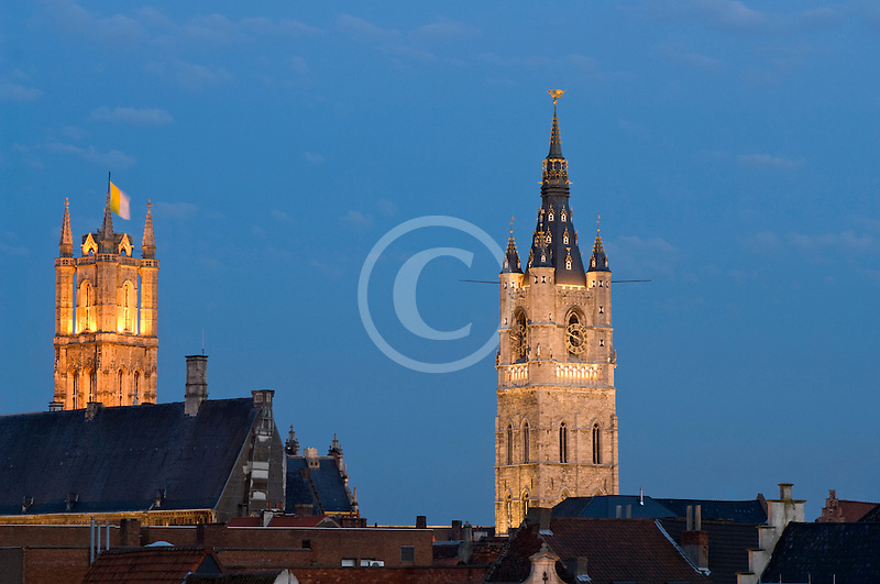 Belgium, Ghent, St. Bavo's Cathedral and Belfry at dusk