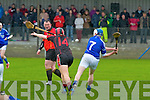 AIB Munster Club Junior Hurling Championship Quarter Final which took place on Sunday at 2pm in Kevin Long Park, Feenagh.  Referee Paul Foley of Waterford.  Feenagh-Kilmeedy VS Kenmare Shamrocks.  <br /> <br /> John Gaffney (7) of Feenagh/Kilmeedy and Kieran Fitzgibbon (14) of Kenmare Shamrocks.