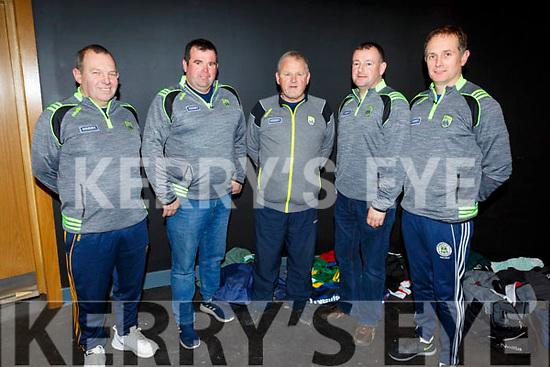 U17 Management Team: L to r: Jerome O'Sullivan (Crotta O'Neills, William Quinlan (Ballyduff), John Hennessey (Manager-Ballyduff), John Healy (Ballyheigue) and Ollie Broughton (Tralee Parnells)