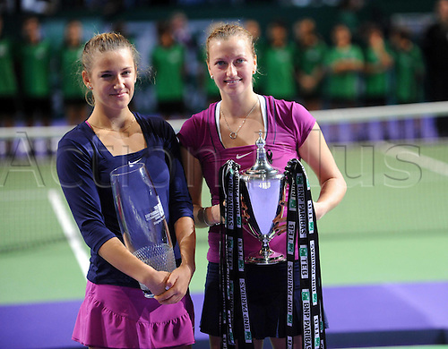 30.10.2011 Istanbul, Turkey. Victoria Azarenka of Belarus l and Petra Kvitova of Czech  After their WTA Tennis women Tennis Championship Final. Mandatory credit: ActionPlus