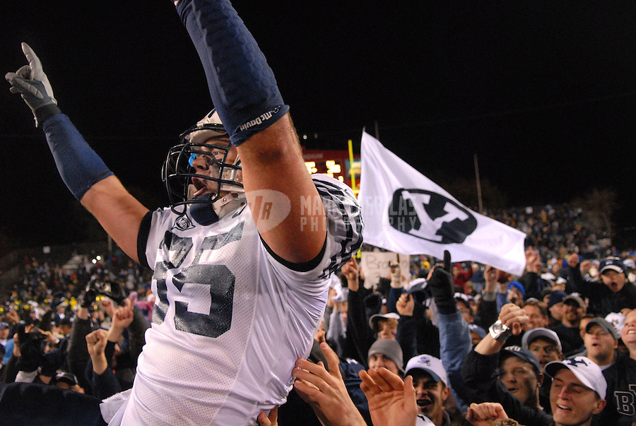 Dec 21, 2006; Las Vegas, NV, USA; Brigham Young Cougars linebacker (35) Cameron Jensen celebrates after defeating the Oregon Ducks during the Las Vegas Bowl at Sam Boyd Stadium in Las Vegas. BYU defeated Oregon 38-8. Mandatory Credit: Mark J. Rebilas-US PRESSWIRE Copyright © 2006 Mark J. Rebilas