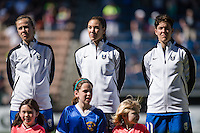 Seattle, WA - Sunday, May 1, 2016: Seattle Reign FC forward Beverly Yanez (17), goalkeeper Hope Solo (1) and midfielder Keelin Winters (11) prior to a National Women's Soccer League (NWSL) match at Memorial Stadium. Seattle 1-0.