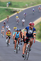 RAGBRAI riders coast down a hill on their way into Graf on Saturday on RAGBRAI XXXVIII.