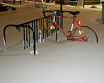 It is unlikely the rider will be claiming this bicycle tonight (during the blizzard of February 2010 in Rehoboth Beach, Delaware, USA).