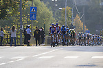 The peloton with Groupama-FDJ on the front after descending Colle Gallo during the 112th edition of Il Lombardia 2018, the final monument of the season running 241km from Bergamo to Como, Lombardy, Italy. 13th October 2018.<br /> Picture: Eoin Clarke | Cyclefile<br /> <br /> <br /> All photos usage must carry mandatory copyright credit (© Cyclefile | Eoin Clarke)