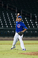 AZL Cubs relief pitcher Eury Ramos (81) prepares to make a throw to first base against the AZL Giants on September 6, 2017 at Sloan Park in Mesa, Arizona. AZL Giants defeated the AZL Cubs 6-5 to even up the Arizona League Championship Series at one game a piece. (Zachary Lucy/Four Seam Images)