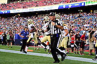 Thursday August 11, 2016: NFL field judge Greg Gautreaux (80) takes the field at an NFL pre-season game between the New Orleans Saints and the New England Patriots held at Gillette Stadium in Foxborough Massachusetts. The Patriots defeat the Saints 34-22 in regulation time. Eric Canha/CSM