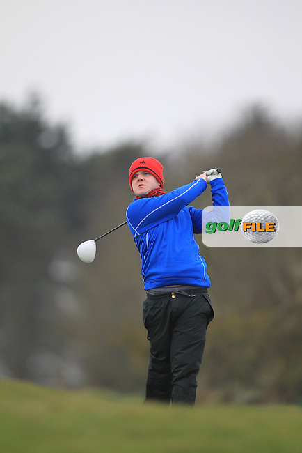 Niall Worth (The Island) on the 1st teeing off in the Hilary golf society in Co Louth Golf Club 24/3/13.Picture: Fran Caffrey / www.golffile.ie ..