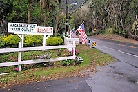 Rural road and entrance to coffee plantation. Oahu, Hawaii