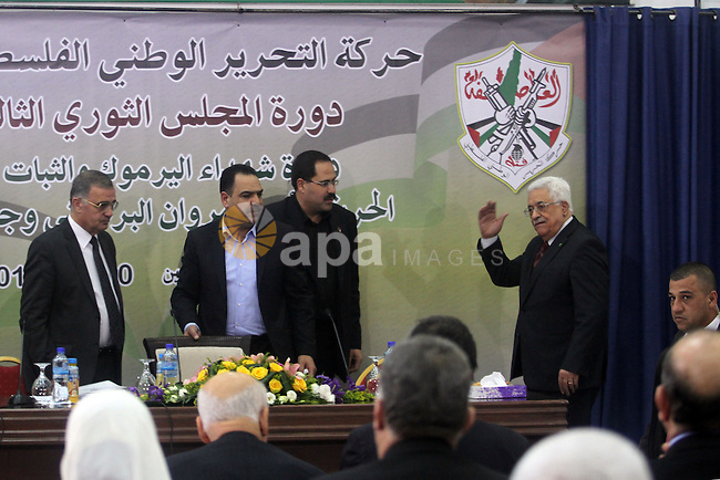 Palestinian president Mahmud Abbas chairs a meeting of the Revolutionary Council of his ruling Fatah party in the West Bank city of Ramallah on March 10, 2014. Photo by Issam Rimawi