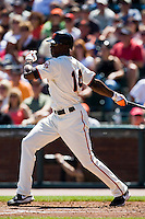 13 April 2008: #14 Fred Lewis of the Giants hits the ball during the San Francisco Giants 7-4 victory over the St. Louis Cardinals at the AT&T Park in San Francisco, CA.