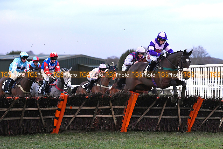 Oborne Lady ridden by Matthew Fielding and trained by Seamus Mullins clears the last in The Sky Sports Racing Mares' Handicap Hurdle   during Horse Racing at Plumpton Racecourse on 10th February 2020