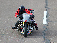 Feb 23, 2018; Chandler, AZ, USA; NHRA nitro harley rider Tii Tharpe during qualifying for the Arizona Nationals at Wild Horse Pass Motorsports Park. Mandatory Credit: Mark J. Rebilas-USA TODAY Sports