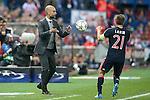 FC Bayern Munchen's coach Pep Guardiola and Philipp Lahm during Champions League 2015/2016 Semi-Finals 1st leg match. April 27,2016. (ALTERPHOTOS/Acero)