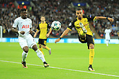 13th September 2017, Wembley Stadium, London, England; Champions League Group stage, Tottenham Hotspur versus Borussia Dortmund; Jeremy Toljan of Borussia Dortmund clears the ball from the attention of new signing Aurier
