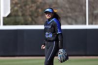 DURHAM, NC - FEBRUARY 29: Gisele Tapia #29 of Duke University during a game between Notre Dame and Duke at Duke Softball Stadium on February 29, 2020 in Durham, North Carolina.