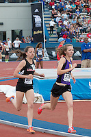 Eureka High School's (MO) Hannah Long and Linn-Mar's (IA)  Stephanie Jenks run early in the 1600-meters on their way to personal bests and the 1st and 3rd fastest times in the country at the 2015 Kansas Relays. Jenks won in 4:40.78 while Long was second and finished in 4:43.67 on Friday, April 17, in Lawrence, Ks.