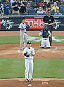 Munenori Kawasaki (Blue Jays), Masahiro Tanaka (Yankees),<br /> JUNE 17, 2014 - MLB : Japan's pitcher Masahiro Tanaka of the New York Yankees stands on the mound as Japan's infielder Munenori Kawasaki of the Toronto Blue Jays at bat in the 2nd inning during the Major League Baseball game at Yankee Stadium in the Bronx, NY, USA.<br /> (Photo by AFLO)