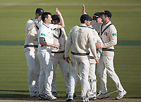 Team mates congratulate Tim Murtagh on his fifth wicket during Middlesex CCC vs Lancashire CCC, Specsavers County Championship Division 2 Cricket at Lord's Cricket Ground on 13th April 2019